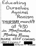 [Educating Ourselves Against Racism Flyer, March 9, 1989] by Unknown